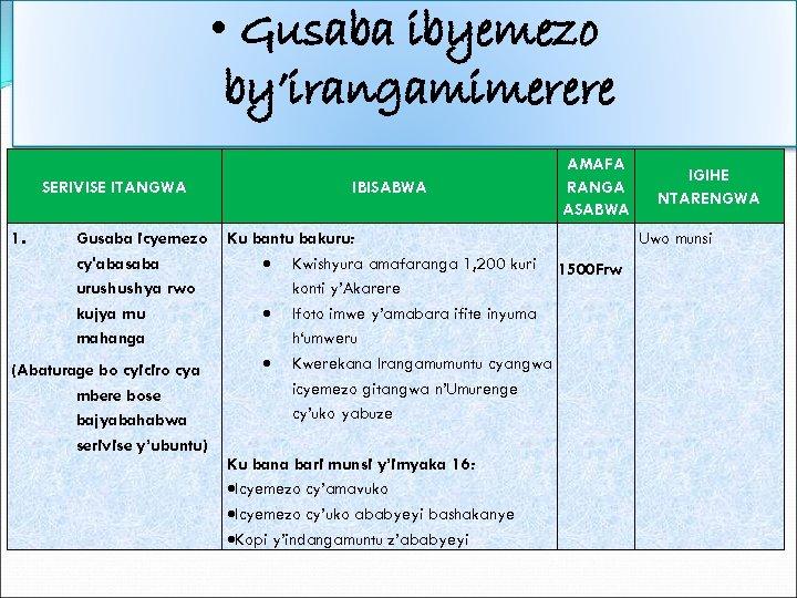 • Gusaba ibyemezo by'irangamimerere SERIVISE ITANGWA 1. Gusaba icyemezo cy'abasaba urushushya rwo kujya