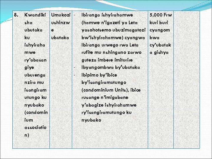 8. Kwandiki sha ubutaka ku ishyiraha mwe ry'abasan giye uburenga nzira mu isangiram utungo