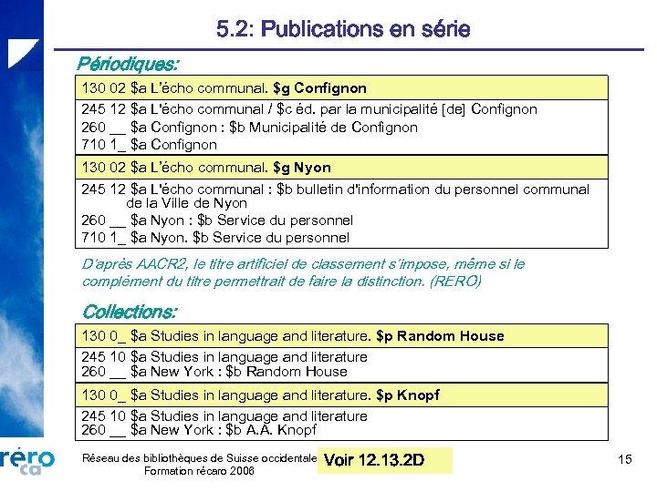 5. 2: Publications en série Périodiques: 130 02 $a L'écho communal. $g Confignon 245