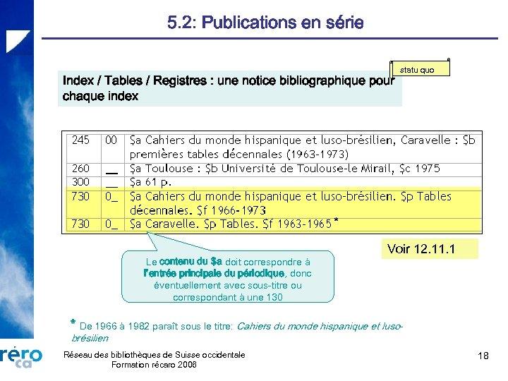 5. 2: Publications en série Index / Tables / Registres : une notice bibliographique