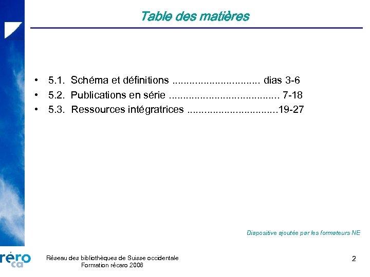Table des matières • 5. 1. Schéma et définitions. . . . dias 3