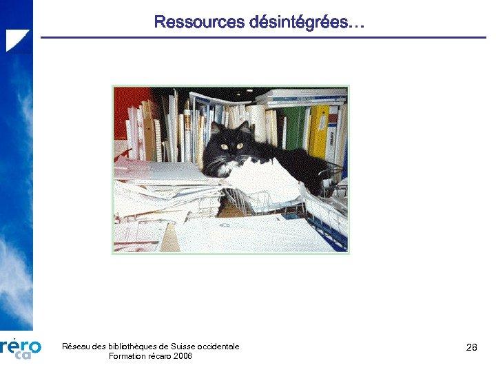 Ressources désintégrées… Réseau des bibliothèques de Suisse occidentale Formation récaro 2006 28