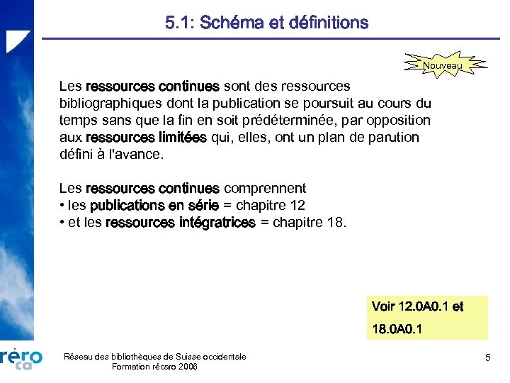 5. 1: Schéma et définitions Nouveau Les ressources continues sont des ressources bibliographiques dont