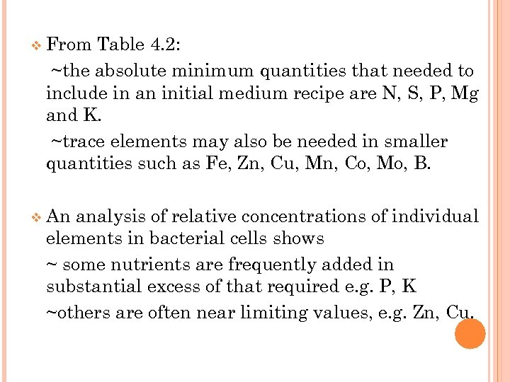 v From Table 4. 2: ~the absolute minimum quantities that needed to include in