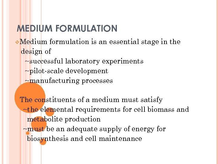 MEDIUM FORMULATION v. Medium formulation is an essential stage in the design of ~successful