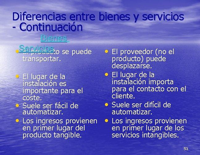 Diferencias entre bienes y servicios - Continuación Bienes • Servicios se puede El producto