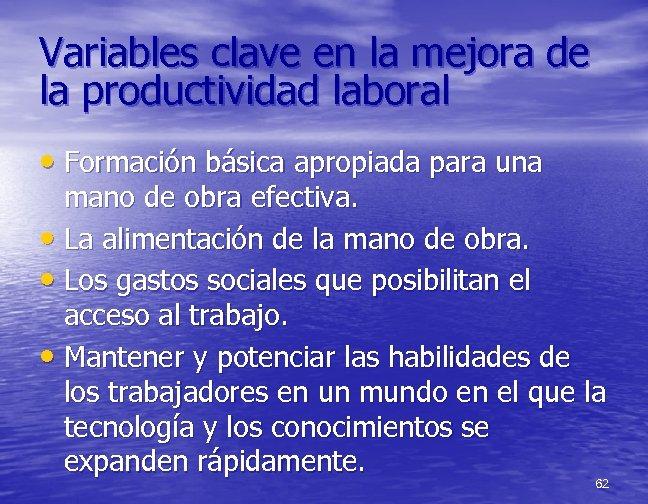 Variables clave en la mejora de la productividad laboral • Formación básica apropiada para
