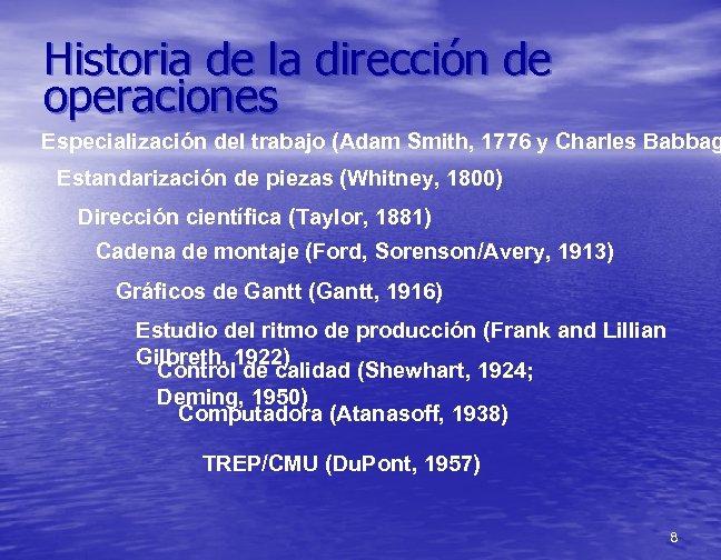 Historia de la dirección de operaciones Especialización del trabajo (Adam Smith, 1776 y Charles