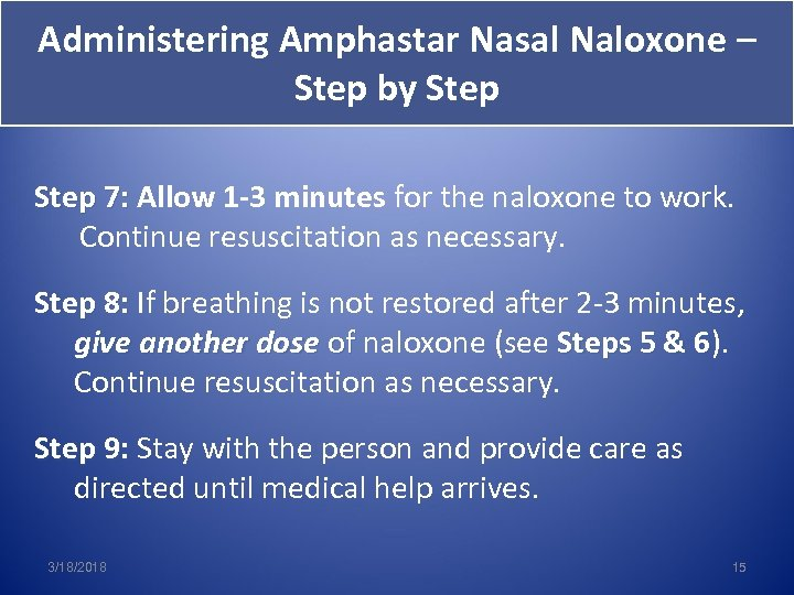 Administering Amphastar Nasal Naloxone – Step by Step 7: Allow 1 -3 minutes for