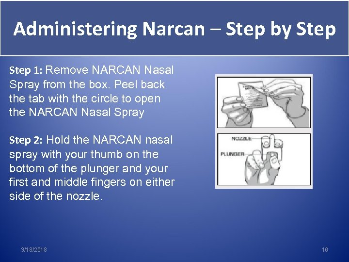 Administering Narcan – Step by Step 1: Remove NARCAN Nasal Spray from the box.
