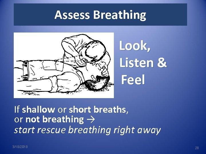 Assess Breathing Look, Listen & Feel If shallow or short breaths, or not breathing