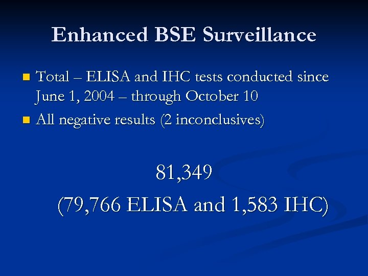 Enhanced BSE Surveillance Total – ELISA and IHC tests conducted since June 1, 2004