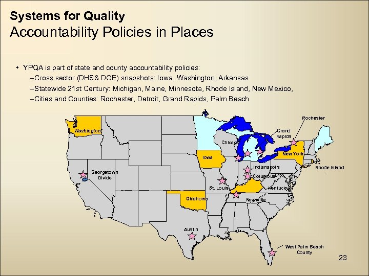 Systems for Quality Accountability Policies in Places • YPQA is part of state and