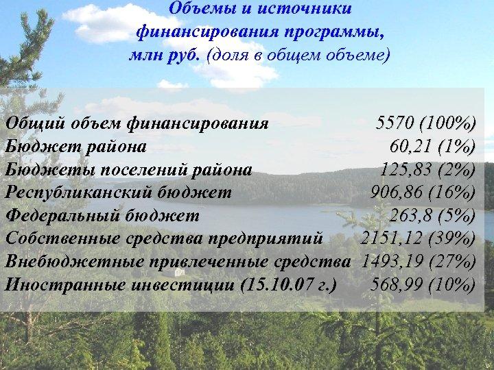 Объемы и источники финансирования программы, млн руб. (доля в общем объеме) Общий объем финансирования
