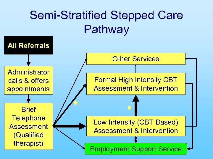 Semi-Stratified Stepped Care Pathway All Referrals Other Services Administrator calls & offers appointments Brief
