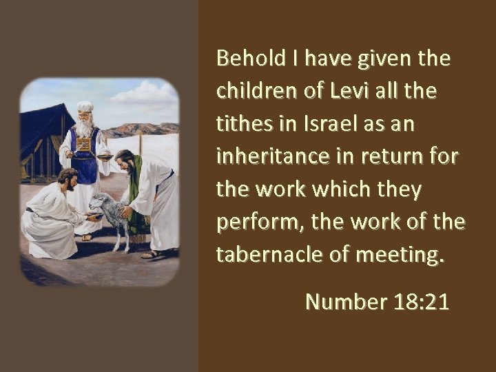 Behold I have given the children of Levi all the tithes in Israel as