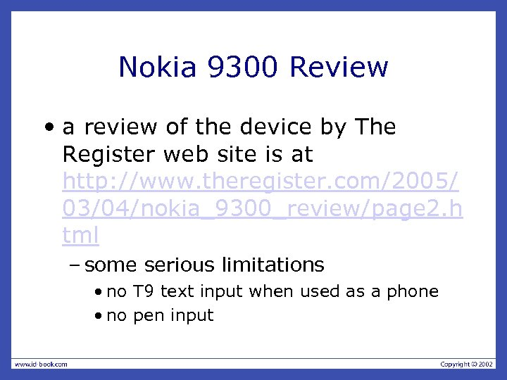 Nokia 9300 Review • a review of the device by The Register web site