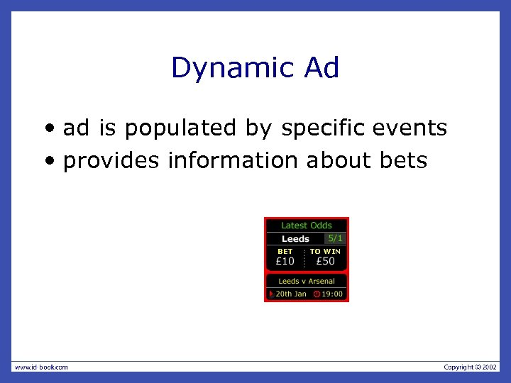 Dynamic Ad • ad is populated by specific events • provides information about bets