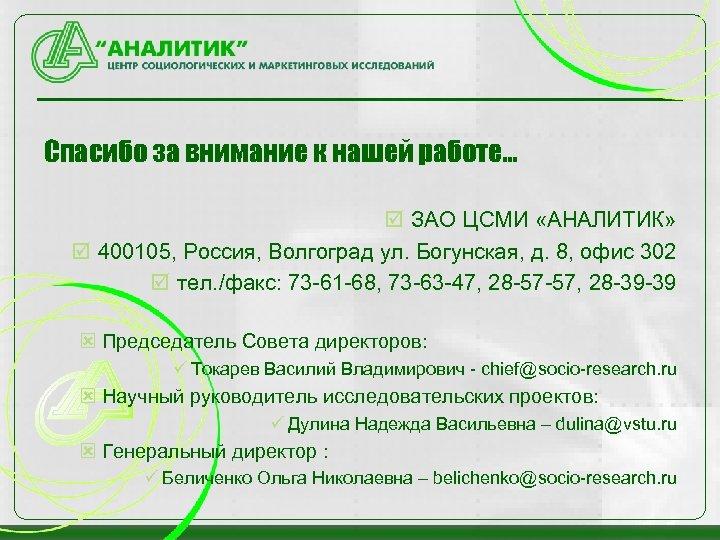Спасибо за внимание к нашей работе… þ ЗАО ЦСМИ «АНАЛИТИК» þ 400105, Россия, Волгоград
