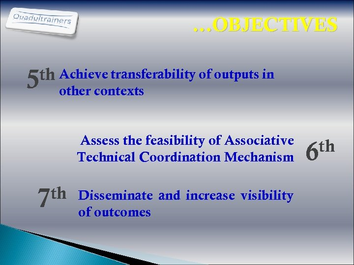 …OBJECTIVES th Achieve transferability of outputs in 5 other contexts Assess the feasibility of