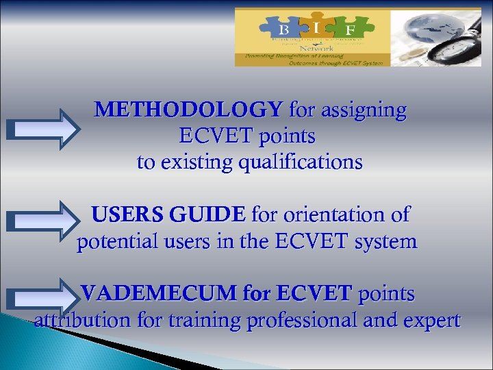 METHODOLOGY for assigning ECVET points to existing qualifications USERS GUIDE for orientation of potential