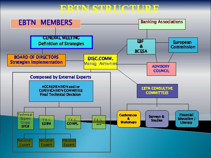 EBTN STRUCTURE EBTN MEMBERS Banking Associations GENERAL MEETING Definition of Strategies BOARD OF DIRECTORS