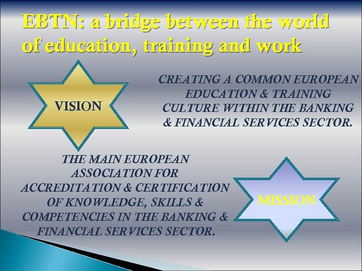 EBTN: a bridge between the world of education, training and work VISION CREATING A