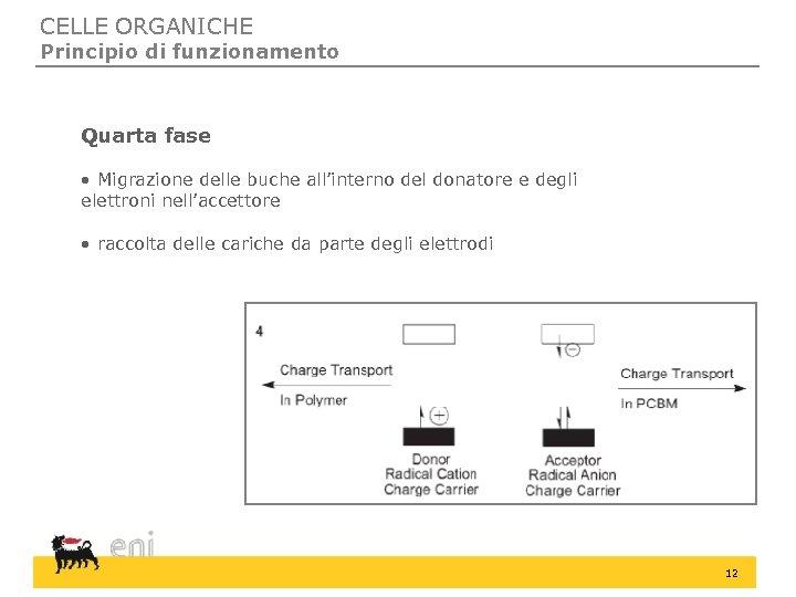 CELLE ORGANICHE Principio di funzionamento Quarta fase • Migrazione delle buche all'interno del donatore
