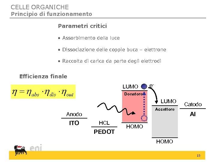 CELLE ORGANICHE Principio di funzionamento Parametri critici • Assorbimento della luce • Dissociazione delle