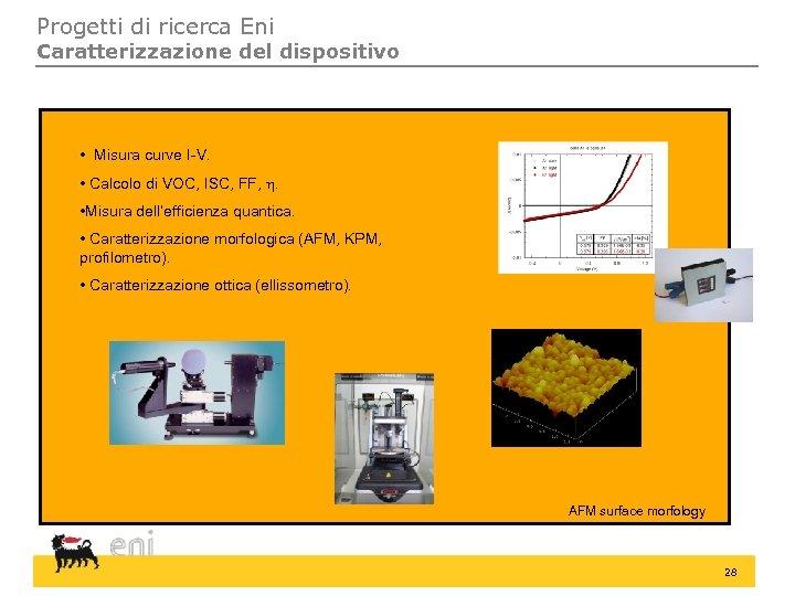 Progetti di ricerca Eni Caratterizzazione del dispositivo • Misura curve I-V. • Calcolo di
