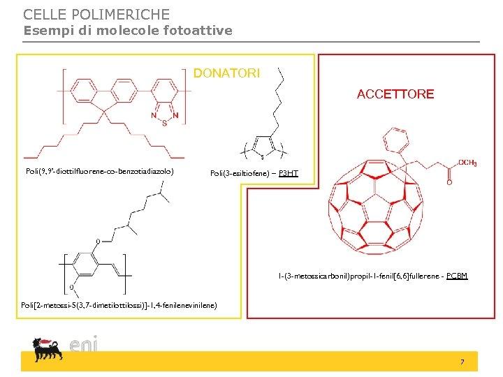 CELLE POLIMERICHE Esempi di molecole fotoattive DONATORI ACCETTORE Poli(9, 9'-diottilfluorene-co-benzotiadiazolo) Poli(3 -esiltiofene) – P