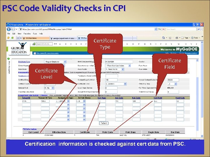 PSC Code Validity Checks in CPI Certificate Type Certificate Level Certificate Field Certification information