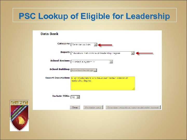 PSC Lookup of Eligible for Leadership