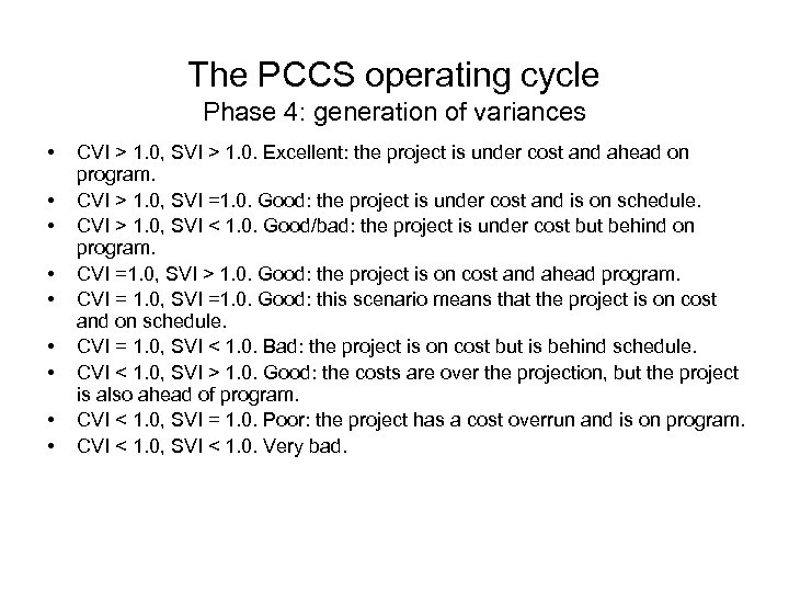 The PCCS operating cycle Phase 4: generation of variances • • • CVI >