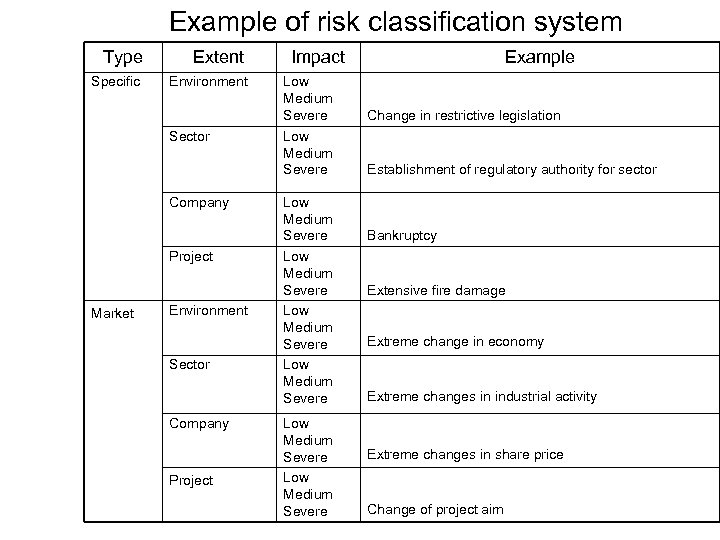 Example of risk classification system Type Extent Specific Environment Sector Company Project Market Environment