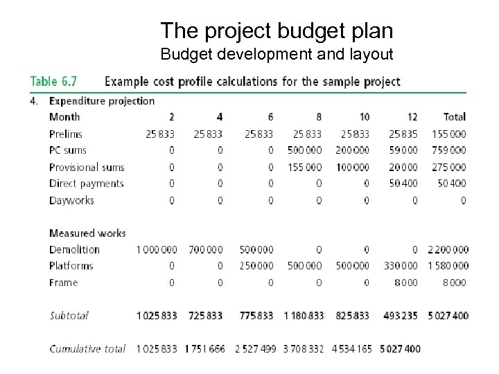 The project budget plan Budget development and layout