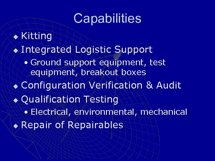 Capabilities Kitting u Integrated Logistic Support u • Ground support equipment, test equipment, breakout