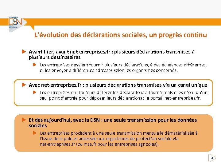 L'évolution des déclarations sociales, un progrès continu Avant-hier, avant net-entreprises. fr : plusieurs déclarations