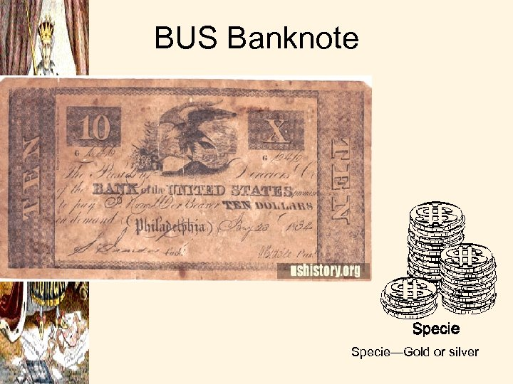 BUS Banknote Specie—Gold or silver