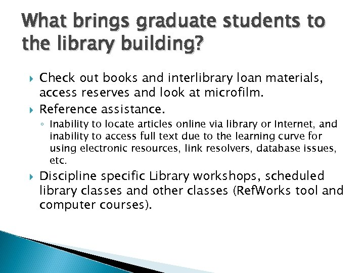 What brings graduate students to the library building? Check out books and interlibrary loan