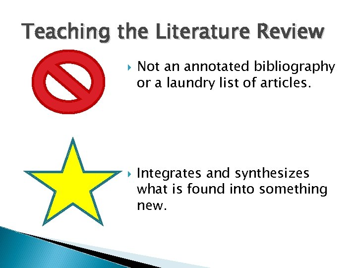 Teaching the Literature Review Not an annotated bibliography or a laundry list of articles.
