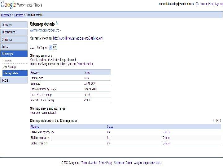 Google Sitemap n Details