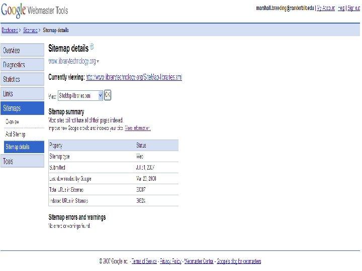 Google Sitemap n Sitemap Details