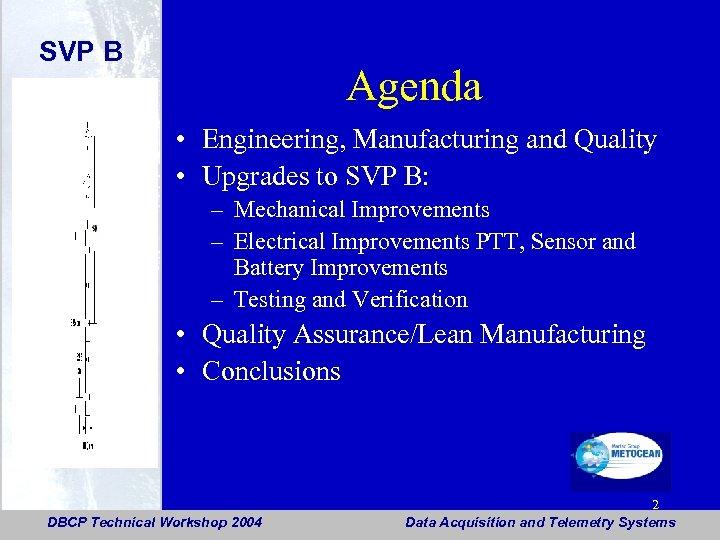 SVP B Agenda • Engineering, Manufacturing and Quality • Upgrades to SVP B: –