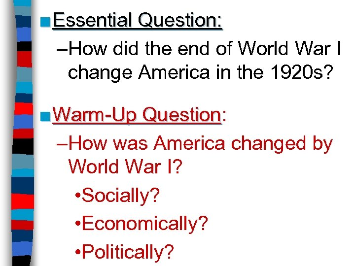 how did world war one change The first world war did not arise primarily as a result of planned german aggression how far do you agree with this opinion explain your answer, using sources 1, 2 and 3 and your own knowledge of the issues related to this controversy there has been some controversy as to what or who was to.