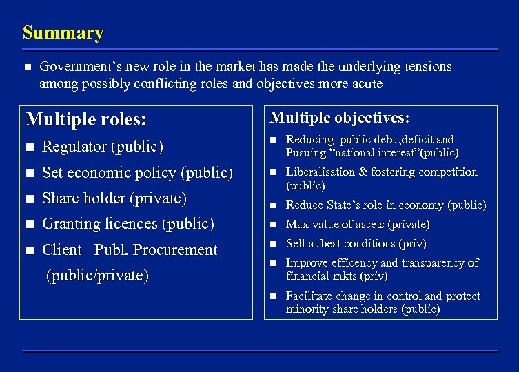 Summary n Government's new role in the market has made the underlying tensions among