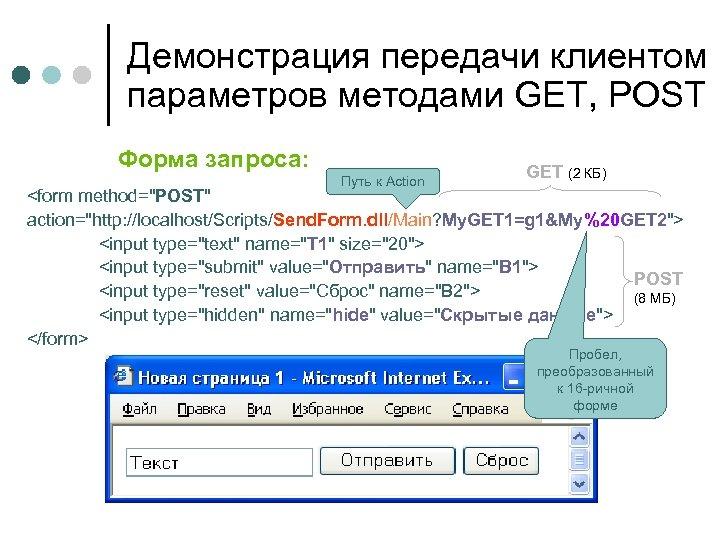Демонстрация передачи клиентом параметров методами GET, POST Форма запроса: Путь к Action GET (2