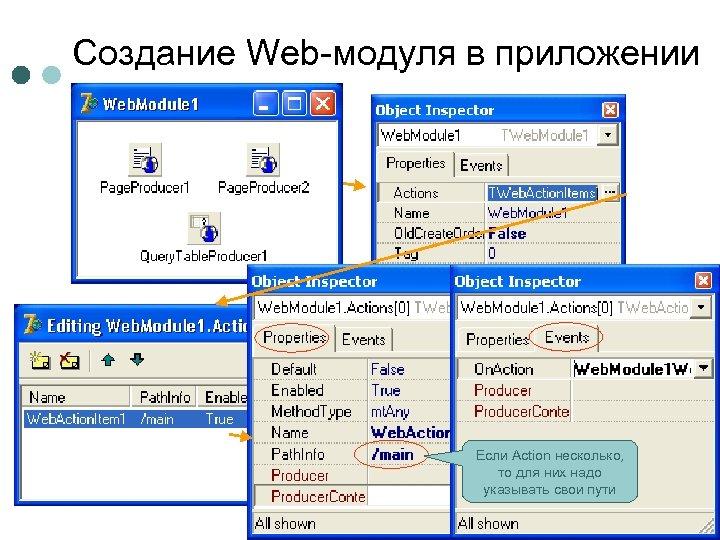 Создание Web-модуля в приложении Если Action несколько, то для них надо указывать свои пути