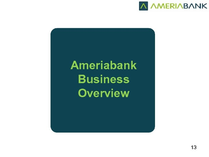Ameriabank Business Overview 13
