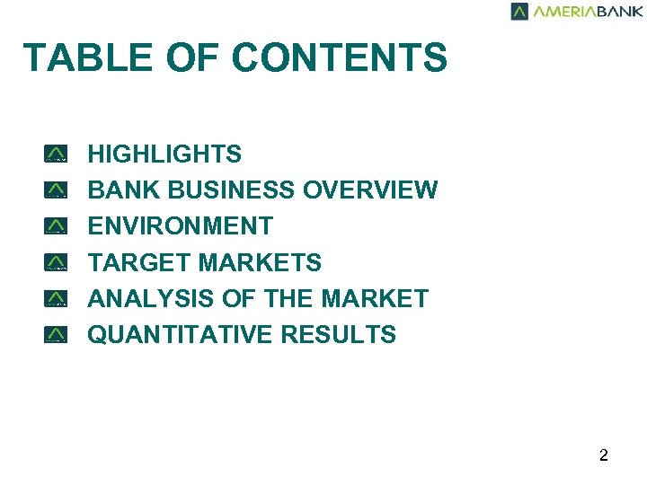 TABLE OF CONTENTS HIGHLIGHTS BANK BUSINESS OVERVIEW ENVIRONMENT TARGET MARKETS ANALYSIS OF THE MARKET